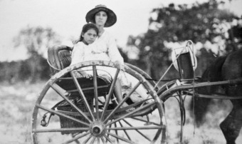 Photo of Kathleen and Teresa Murakami on a horse buggy in 1930s Broome.