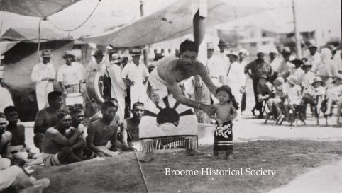 Photo of an Amateur Sumo Tournament held at the Japanese Club, circa 1929. Jiroichi Murayama (centre), A.C. Gregory's No. 1 diver , with a young Joseph Kisaburo Murakami.